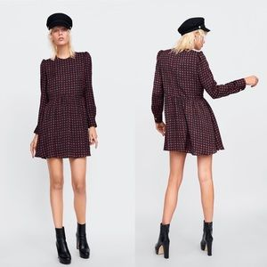 ZARA Heart Print Smock Dress Romper Long Sleeves